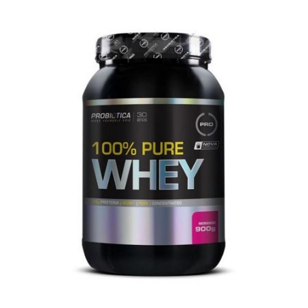 Whey Pure 100% PROBIÓTICA Concentrado Sabor Morango 900g