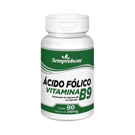 Vitamina B9 Ácido Fólico SEMPREBOM 240mg 60 Cápsulas