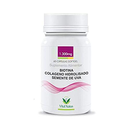 Biotina + Colágeno + Semente de Uva VITAL NATUS 1300mg 60 Cápsulas