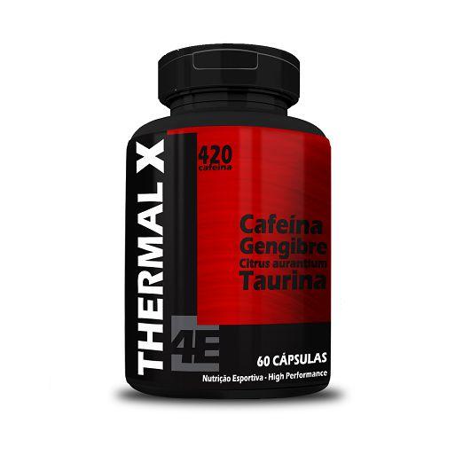 Thermal X Cafeína + Gengibre + Citrus aurantium + Taurina 4 ELEMENTOS 500mg 60 Cápsulas