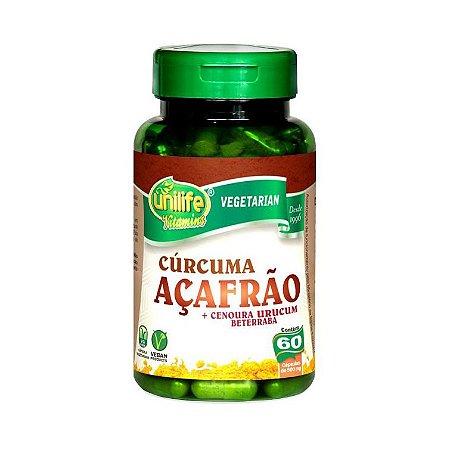 Cúrcuma Açafrão + Urucum + Cenoura e Beterrada UNILIFE 500mg 60 Cápsulas Vegetais