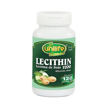 Lecithin Lecitina de Soja UNILIFE 1200mg  120 Cápsulas Vegetais