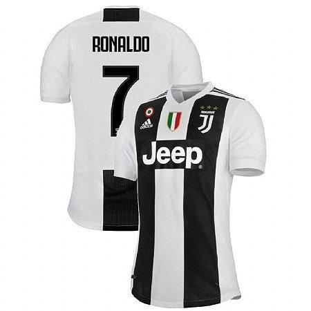 89388aeec Camisa Juventus Home Cristiano Ronaldo 7 com Patch 18 19 Torcedor Adidas  Masculina