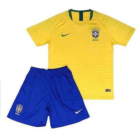 Conjunto Infantil Seleção Brasil Home 18 19 Torcedor Nike - MERCADO ... b12af2ba86719