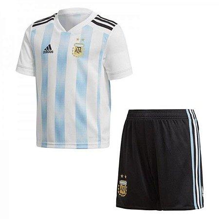 Conjunto Infantil Seleção Argentina Home 18 19 Torcedor Adidas ... b78a33042b3cd