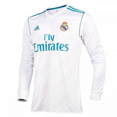 Camisa do Real Madrid Manga Longa Modelo Home 17 18 Torcedor Adidas  Masculina 07f3de5c9f77a