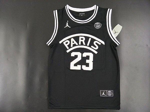 9f74216c1b94f Camisa Regata PSG Jordan Preta 18 19 Edição Especial