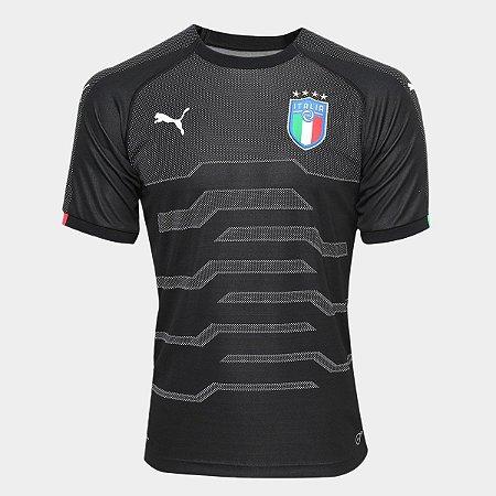 Camisa Seleção Itália Preta Goleiro 18 19 Torcedor Puma Masculina ... 206688aaae5f2