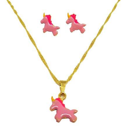 Conjunto Brinco e Corrente Unicórnio Rosa Ideal jóias