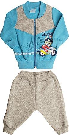 Conjunto Infantil Motoqueiro e Recorte Wilbertex Azul