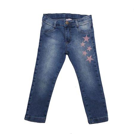 Calça Jeans Infantil Skinny Com Estrelas Jeito Infantil