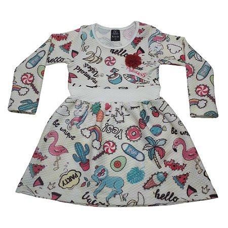 Vestido Infantil Favinho Tropical Com Aplique De Flor Pérola Kelindo