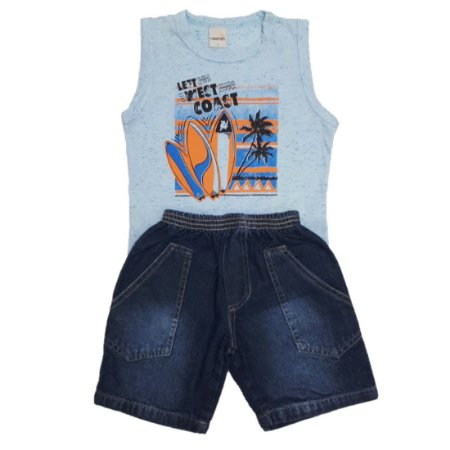 Conjunto Regata Surf e Bermuda Jeans Azul Ralakids