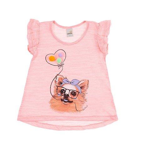 Blusa Infantil Dog Pompom Ralakids Rosa