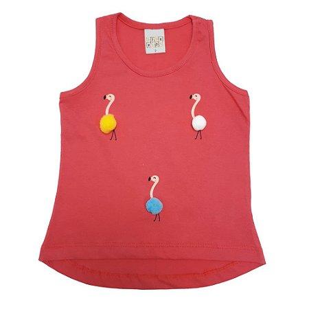 Regata Infantil Flamingo Pompom Kibs Kids Salmão