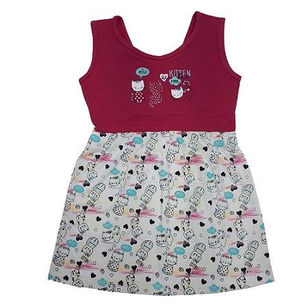 Vestido Infantil Gatinhos Wilbertex Pink
