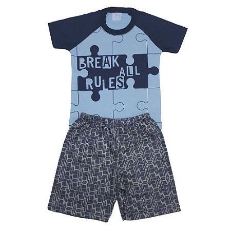 Conjunto Infantil Quebra Cabeça Wilbertex Azul