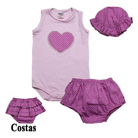 Conjunto Bebê Coração e Frufru Sonho do Bebê Rosa (Pega Sol)