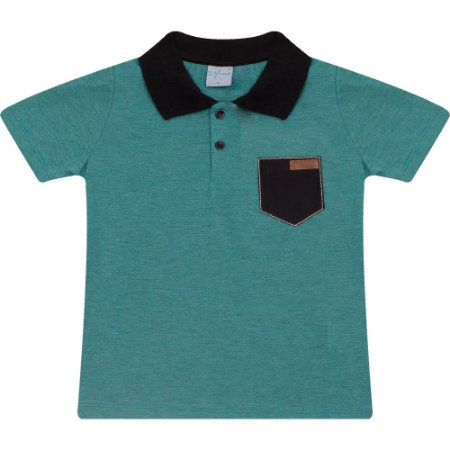 Camiseta Infantil Gola Polo Listras Wilbertex Verde