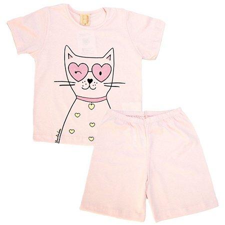 Pijama Infantil Cat Hrradinhos Rosa