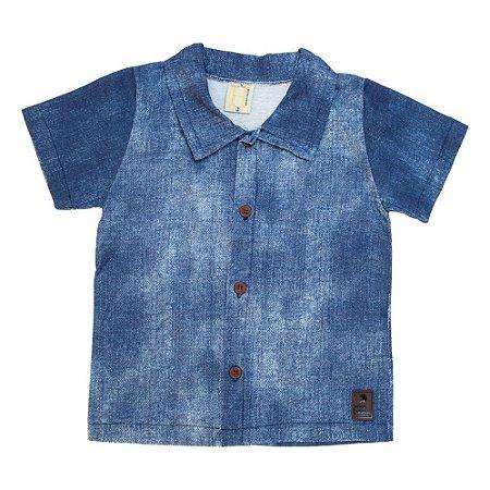 Camisa Bebê Com Botão Hrradinhos Azul