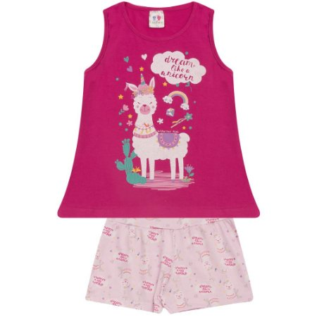 Conjunto Infantil Lhama W. Kids Pink
