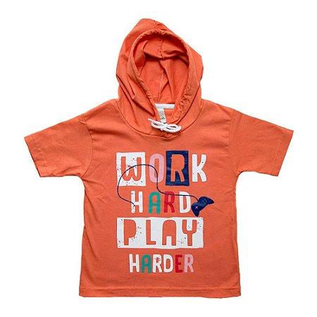 Camiseta Infantil Com Capuz Ralakids Laranja