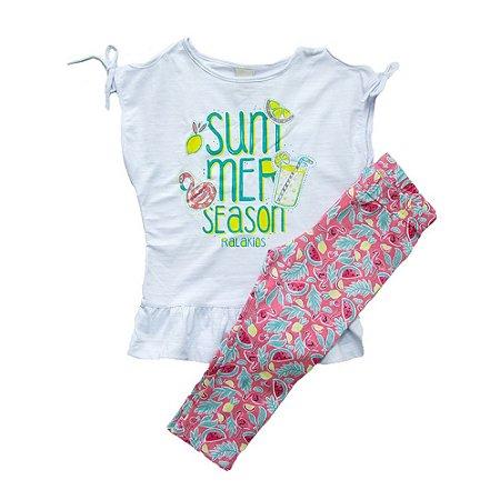 Conjunto Infantil Summer Flamingo Ralakids Branco