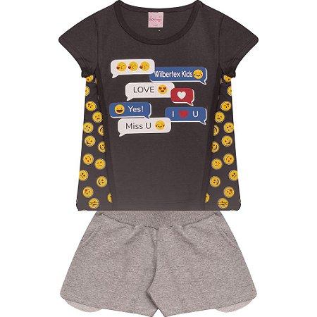 Conjunto Infantil Emoji Wilbertex Chumbo