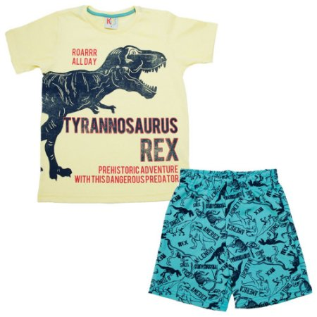 Conjunto infantil Dinossauro Rex Kids Club Amarelo