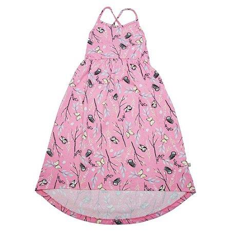 Vestido Infantil Longo Estampado Kids Club Rosa