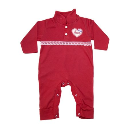 Macacão Bebê Com Aplique e Rendinha G Kids Vermelho
