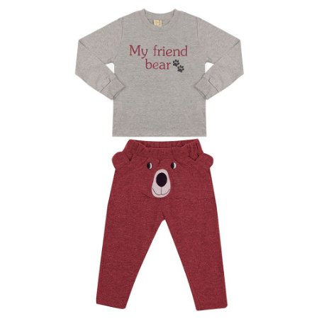 Conjunto Infantil My Friend Bear Hrradinhos Bordô