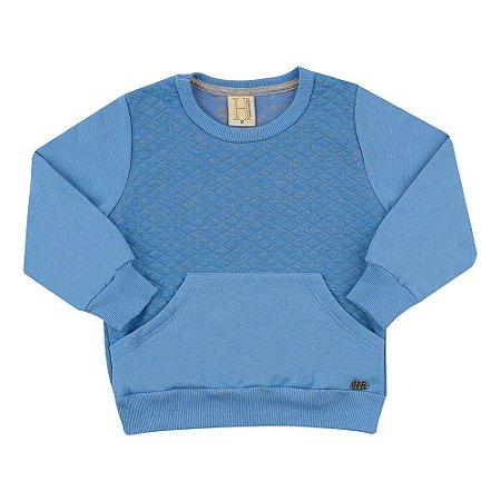Casaco Infantil Com Bolso Hrradinhos Azul
