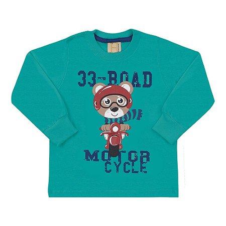 Camiseta Infantil Manga Longa 33 Road Urso Hrradinhos Verde