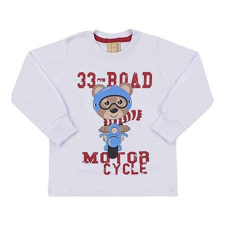 Camiseta Infantil Manga Longa 33 Road Urso Hrradinhos Branca