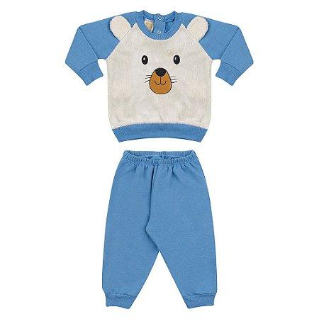Conjunto Bebê Ursinho Hrradinhos Azul