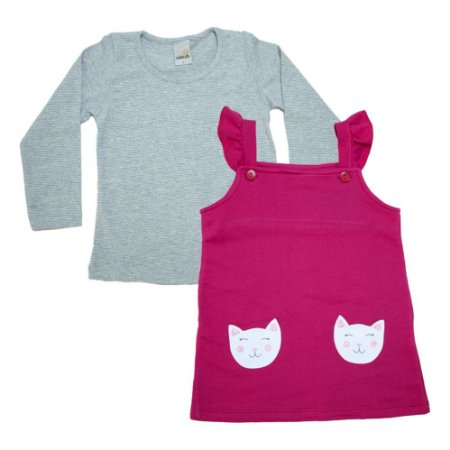 Vestido Jardineira Com Blusa Ralakids Pink