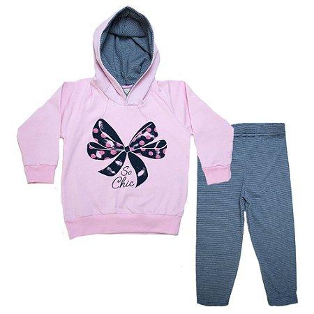 Conjunto Infantil Blusão Laço Ralakids Rosa