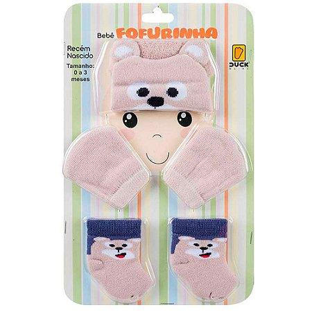 Kit Bebê Fofurinha Touca, Luva e Meia Urso Duck Bege