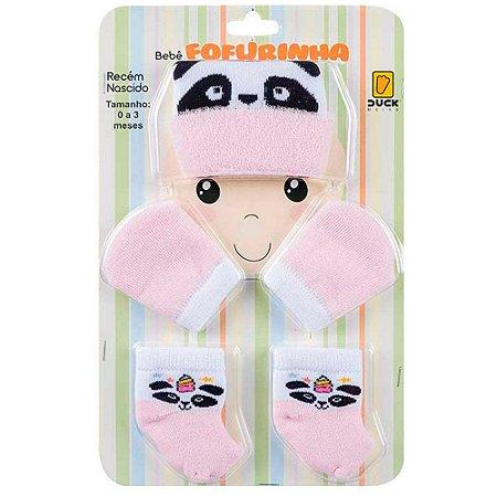 Kit Bebê Fofurinha Touca, Luva e Meia Panda Duck Rosa