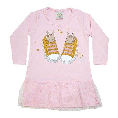 Blusa Bebê Com Tule Kibs Kids Rosa