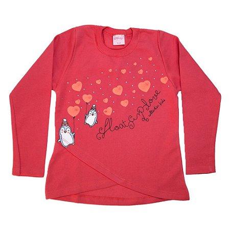 Casaco Infantil Love Pinguim Wilbertex Coral