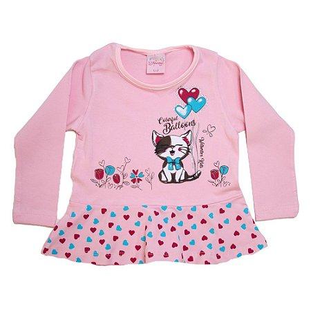 Blusa Infantil Gatinho Wilbertex Rosa