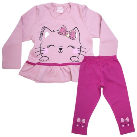 Conjunto Infantil Gatinha Wilbertex Rosa