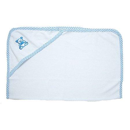 Toalha Bebê Com Aplique Jeito Inocente Branco Com Azul