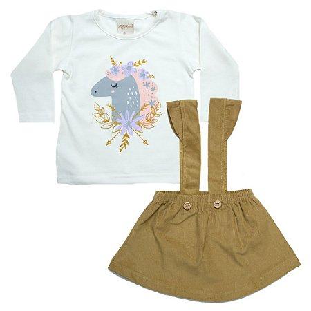 Conjunto Bebê Blusa e Salopete Molekada Mostarda
