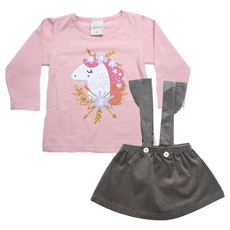 Conjunto Bebê Blusa e Salopete Molekada Marrom