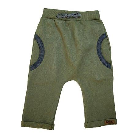 Calça Bebê Saruel Com Bolso Molekada Verde Militar