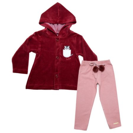 Conjunto Infantil Plush Com Pompom Molekada Vermelho